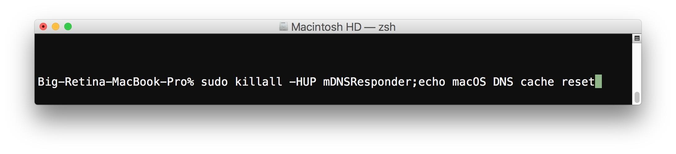 Ripristina la cache DNS in macOS High Sierra