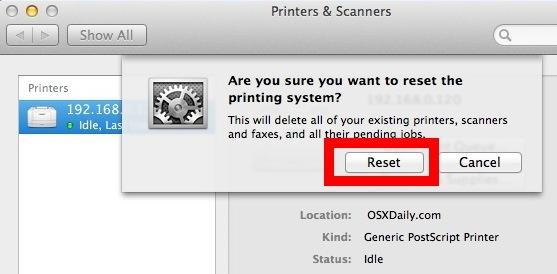 Ripristina il sistema di stampa in OS X e rimuovi tutte le stampanti e i loro lavori