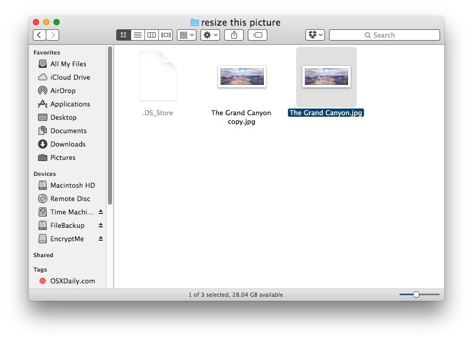 Trova l'immagine da ridimensionare in Mac Finder