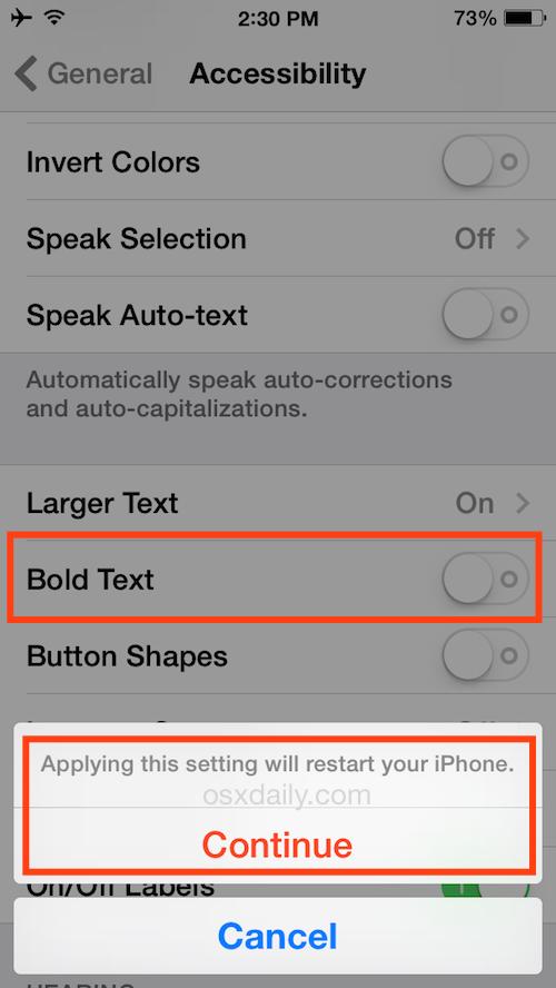 Riavvia un iPhone Bolding the Text