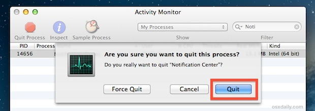 Riavvia Centro notifiche in Mac OS X