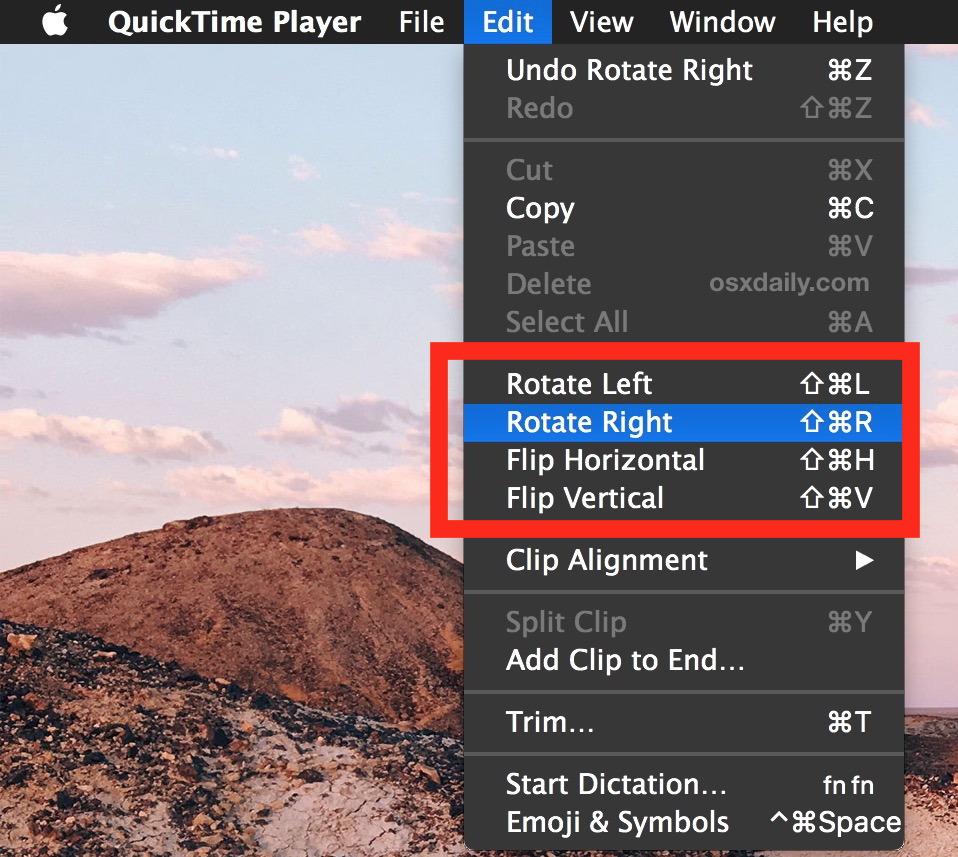 Ruota e capovolgi i video in QuickTime per Mac OS X