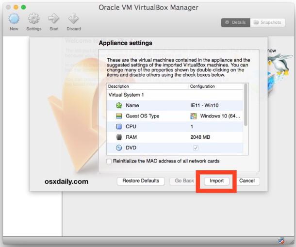 Importa la macchina virtuale Microsoft Edge in VirtualBox