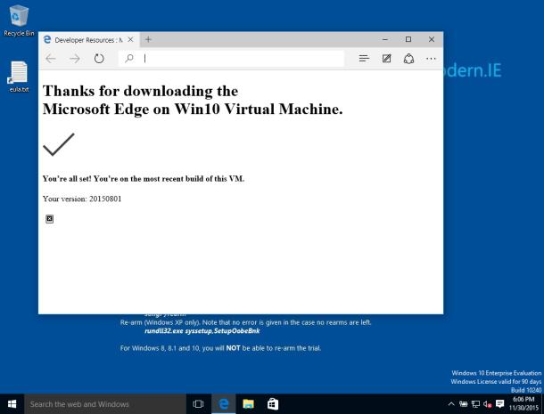 Primo avvio di Microsoft Edge VM