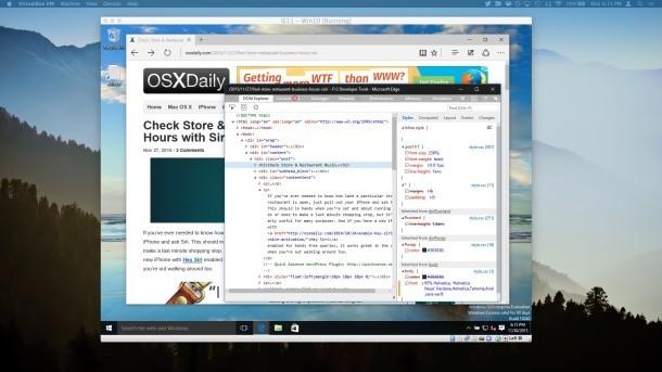 Microsoft Edge con gli strumenti per sviluppatori in Mac OS X