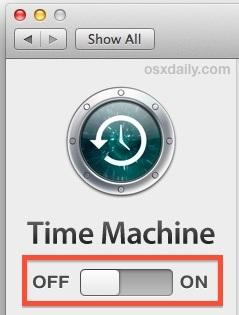 Disattiva temporaneamente Time Machine