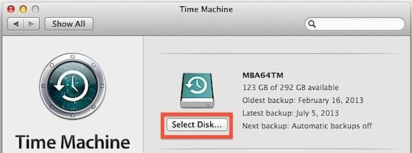 Seleziona il nuovo disco della macchina del tempo