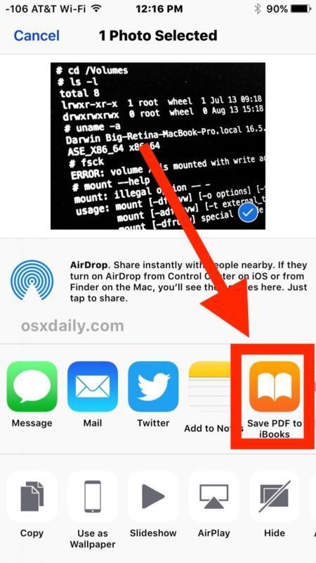 Salva foto come PDF da iOS