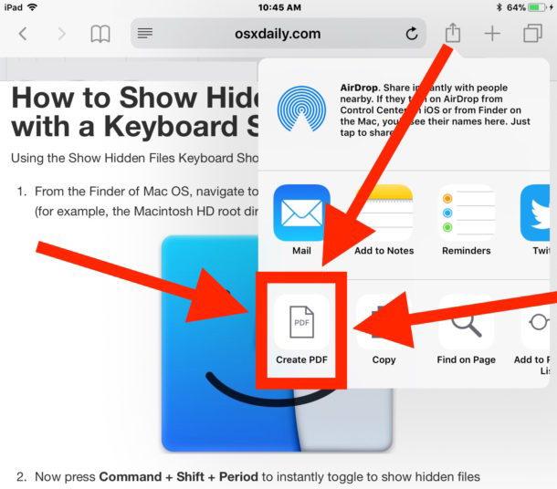 Salva una pagina Web come PDF su iOS selezionando Crea PDF