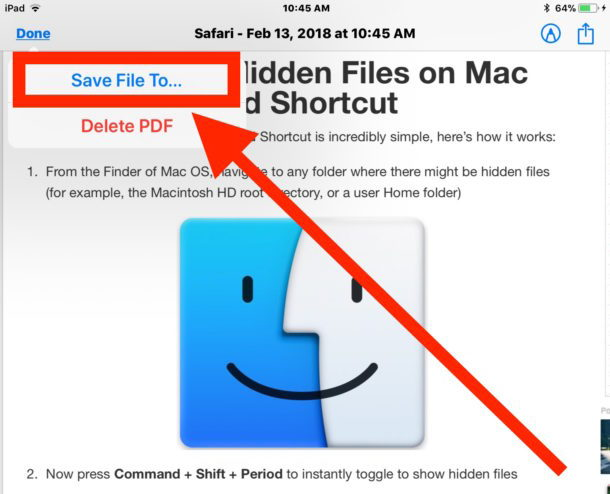 Salva una pagina Web come PDF su iOS