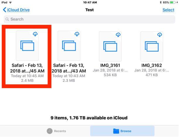 Il file PDF creato da una pagina Web nell'app File di iOS