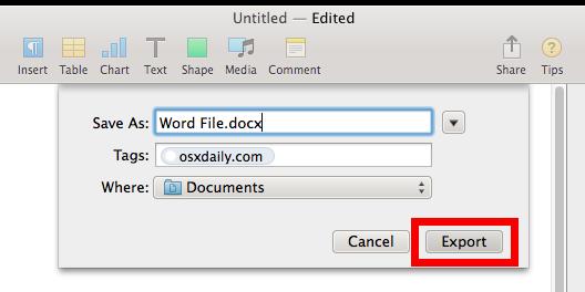 Pagine che salvano un file docx di Word per il supporto di Microsoft Windows