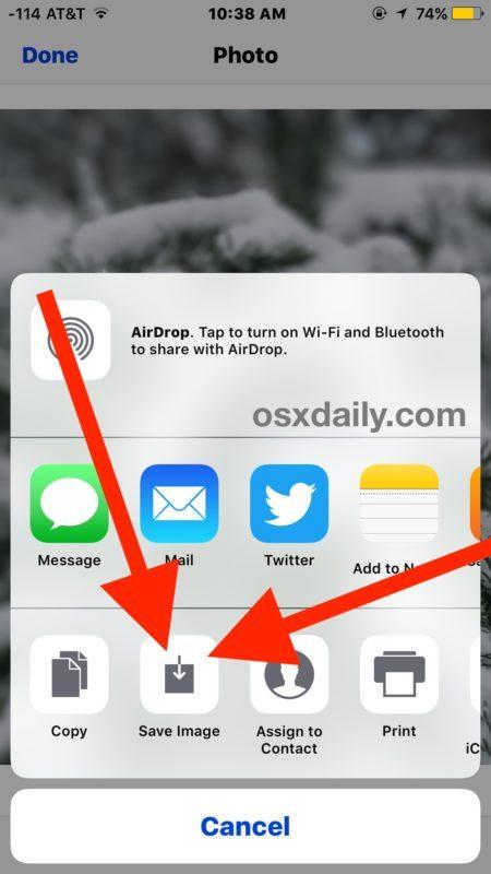 Salvataggio di un'immagine da Messaggi a iOS su iPhone