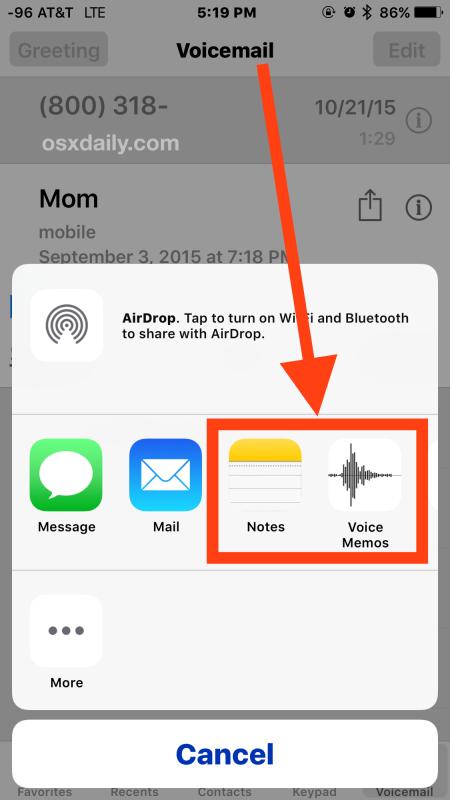 Salva un messaggio vocale dell'iPhone su iPhone
