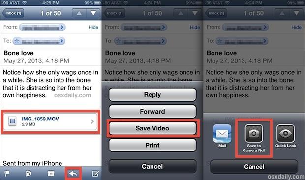 Salva film da un'e-mail a un dispositivo iOS localmente