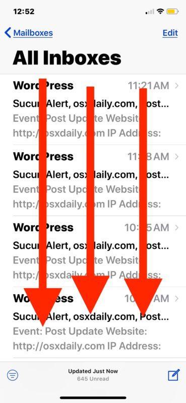 Scorri verso il basso per trovare la funzionalità di ricerca in Mail per iOS