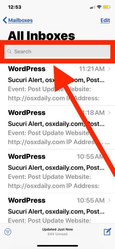 Tocca nella funzione di ricerca in IOS Mail