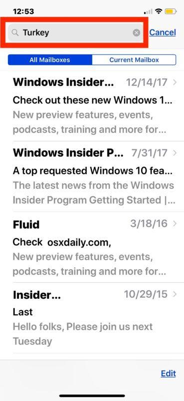 Trova le e-mail ricercate su iPhone e iPad attraverso i risultati di ricerca dell'app Mail