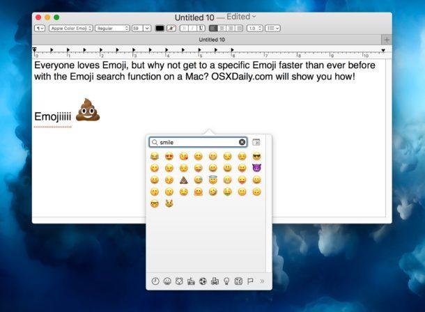 Ricerca di Emoji specifiche su Mac