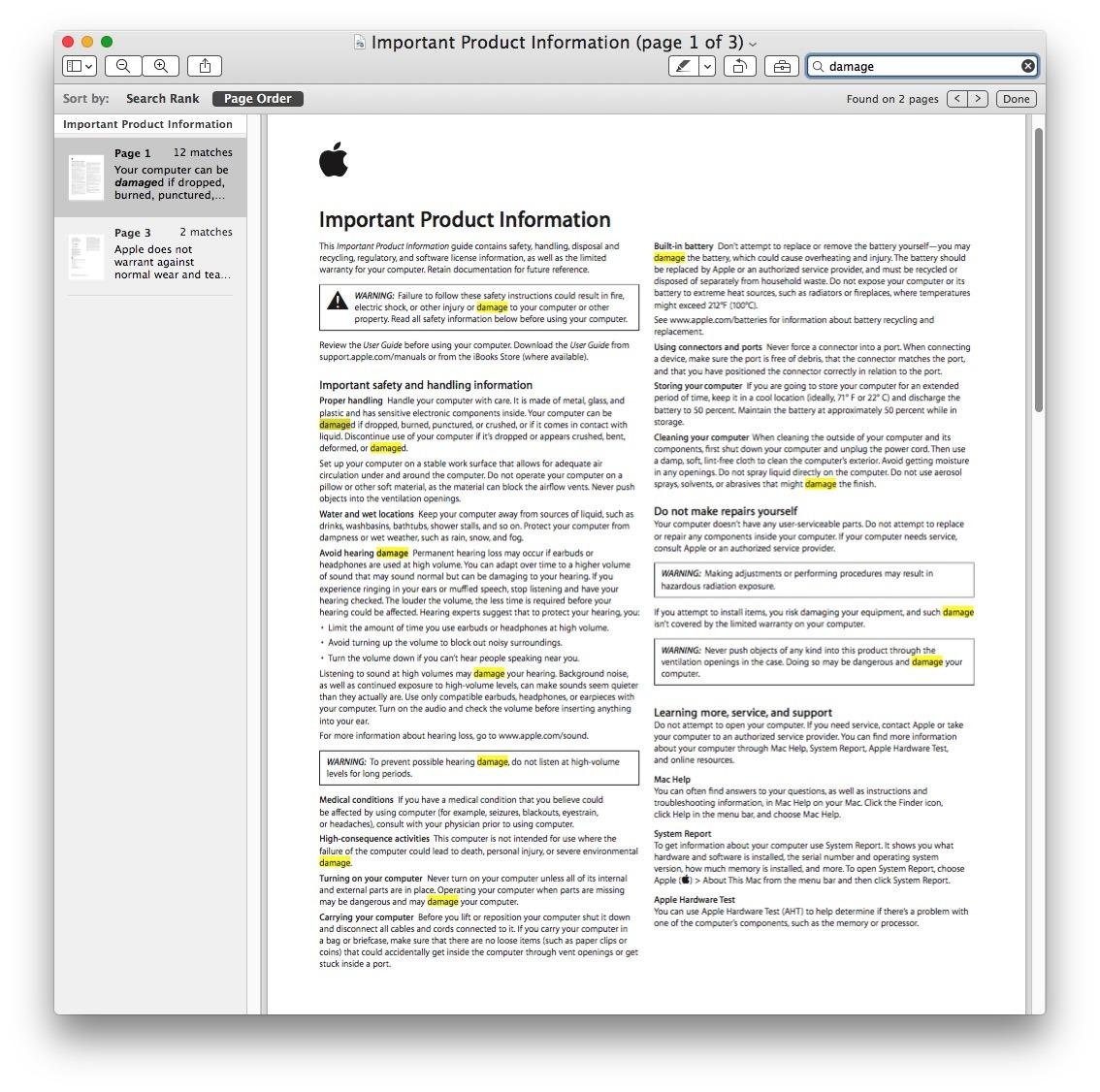 Cerca l'anteprima per le corrispondenze di testo PDF