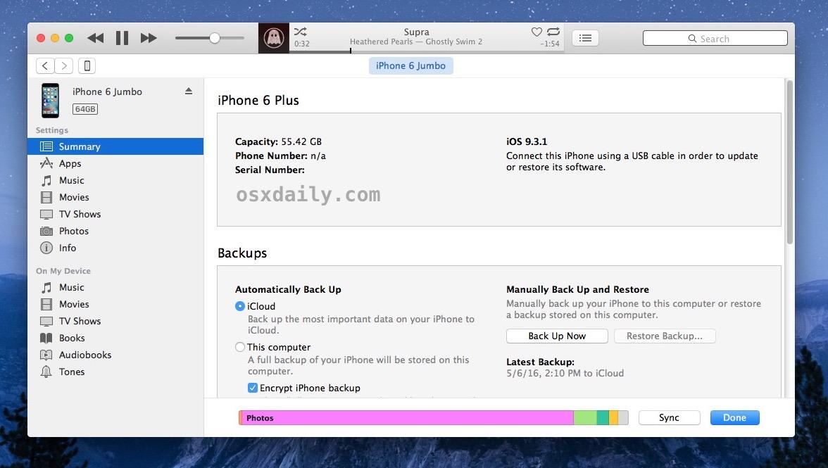 Il successo del dispositivo è stato selezionato in iTunes