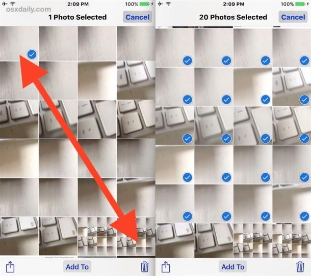 Tocca e trascina per selezionare più foto contemporaneamente con un semplice gesto in iOS
