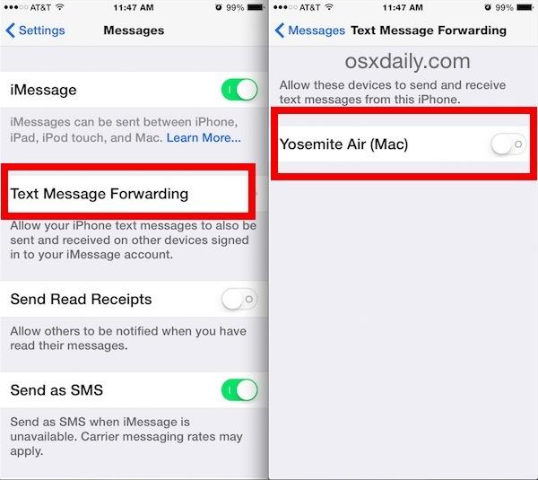 Abilita messaggi di testo SMS su un Mac da iOS