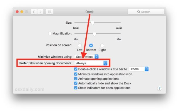 Impostare per preferire le schede sempre per le app Mac