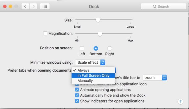 Altre impostazioni delle preferenze delle schede per le app Mac