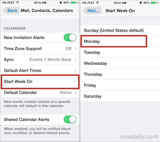 Inizia la settimana in qualsiasi giorno in Calendar per iOS