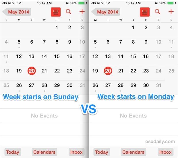 La settimana inizia il lunedì e la domenica nell'app Calendario iOS