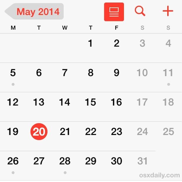 Inizia la settimana di lunedì in Calendar per iPhone