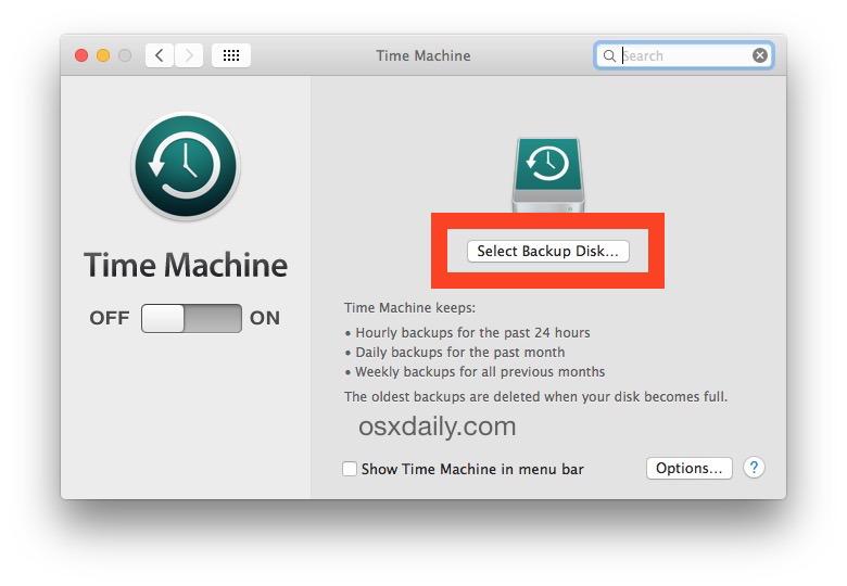 Configurazione dei backup di Time Machine in OS X scegliendo il disco di destinazione Time Machine