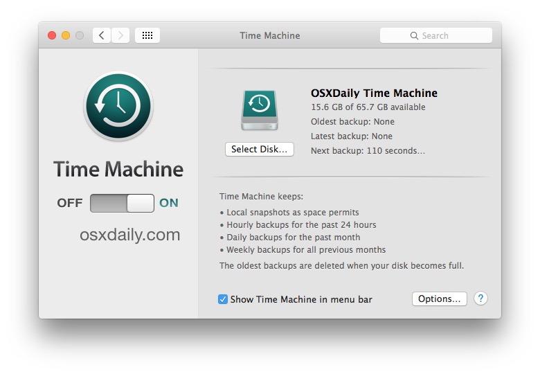 Imposta i backup di Time Machine su Mac OS X.