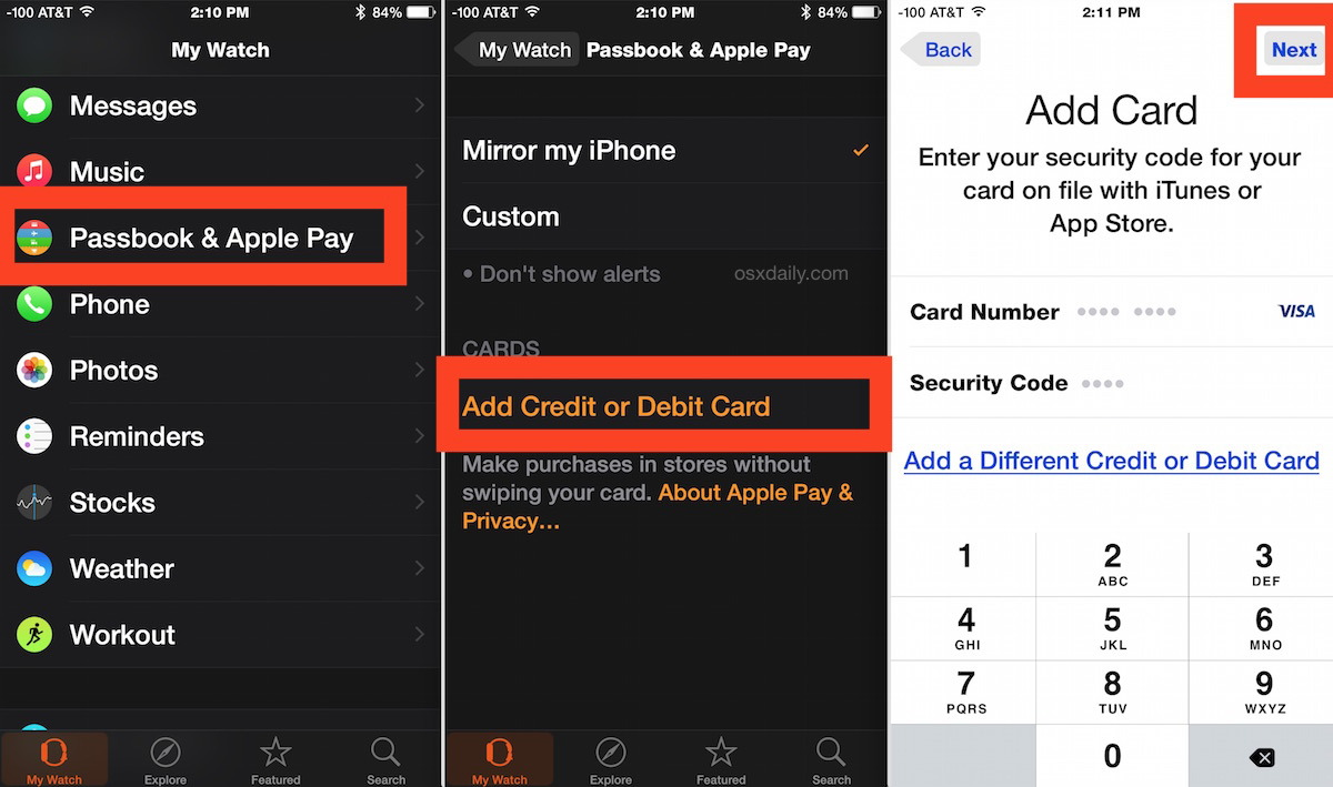 Come aggiungere una Apple Pay card ad Apple Watch