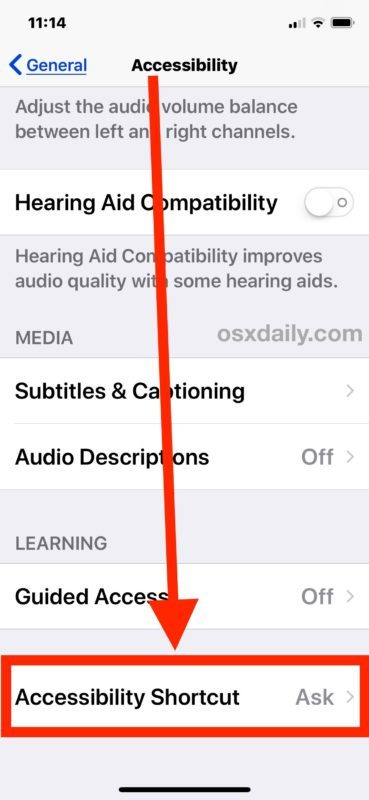 Come modificare il collegamento dell'accessibilità in iOS