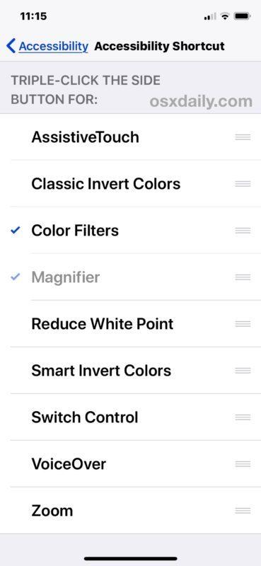 Seleziona le impostazioni del tuo Accessibility Shortcut per iPhone o iPad