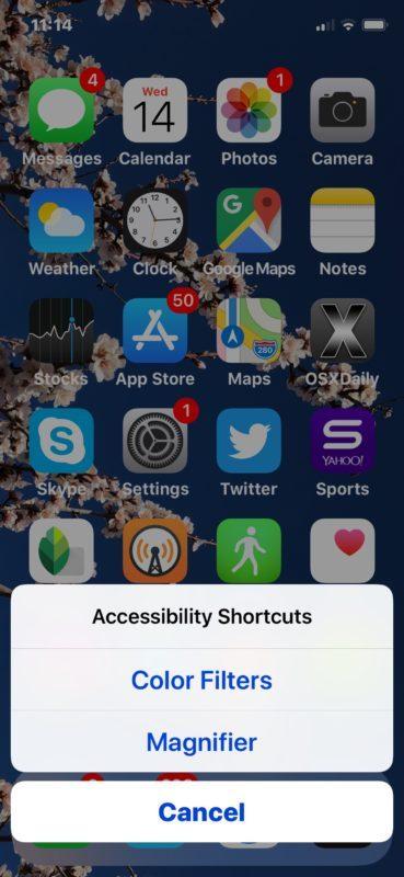Il collegamento dell'accessibilità visto su iPhone