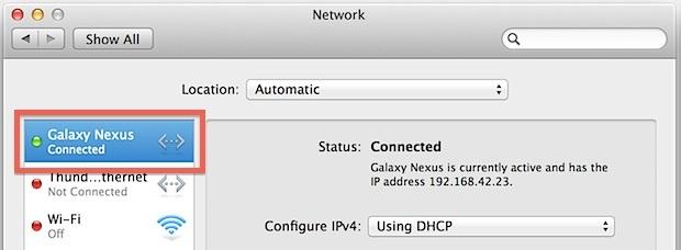 Tethering Internet da USB a Mac USB