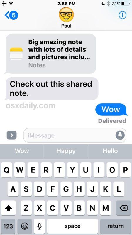 La parte ricevente di una nota invita in iOS