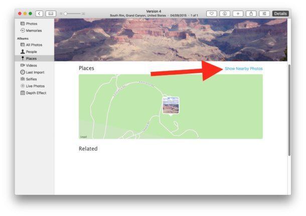 Mostra foto georeferenziate nelle vicinanze su una mappa
