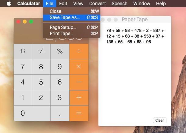 Salva o stampa il nastro di carta dalla calcolatrice