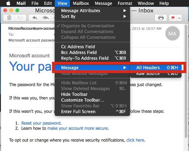 Mostra intestazione lunga e completa in Mail per Mac OS X