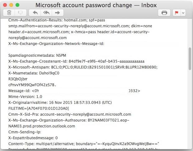 Intestazione completa del messaggio di posta elettronica visualizzata nell'app Mac Mail