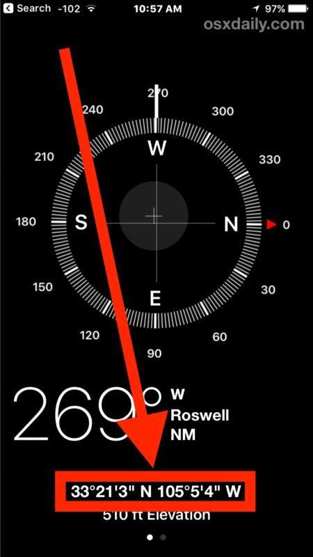 Visualizzazione delle coordinate GPS su iPhone con Compass