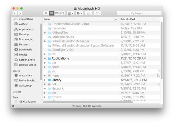 I file nascosti sono resi visibili in Mac OS