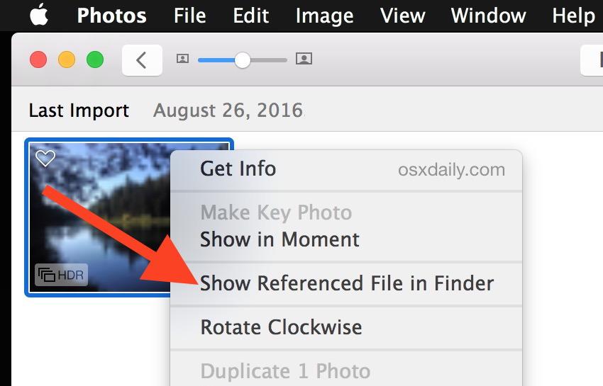 Mostra il file di riferimento nel Finder dall'app Foto di Mac OS X