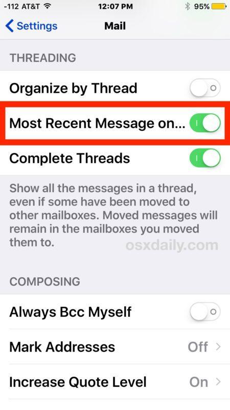 Il threading della posta di iOS mostra i messaggi recenti in cima