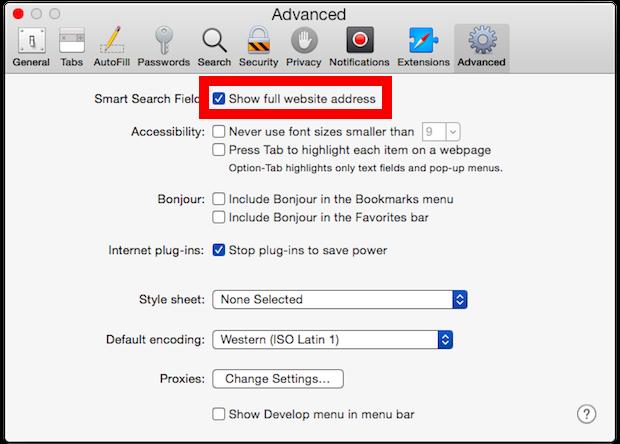 Mostra l'URL del sito Web completo in Safari per ac OS X
