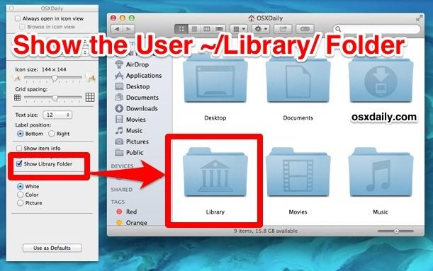 Mostra la cartella Libreria utenti in Mac OS X Mavericks